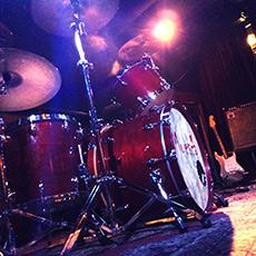Drumkit on stage in Bluescafe Apeldoorn.